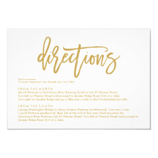 Chic Hand Lettered Gold Wedding Directions Card