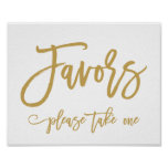 Chic Hand Lettered Gold Wedding Favors Sign<br><div class='desc'>Wedding Favors Sign in Gold</div>