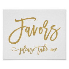Chic Hand Lettered Gold Wedding Favors Sign at Zazzle