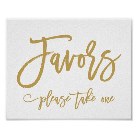Chic Hand Lettered Gold Wedding Favors Sign Zazzle