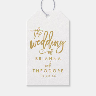 How To Make Wedding Gift Tags : Chic Hand Lettered Gold Wedding Gift Tag