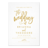 Chic Hand Lettered Gold Wedding Invitation