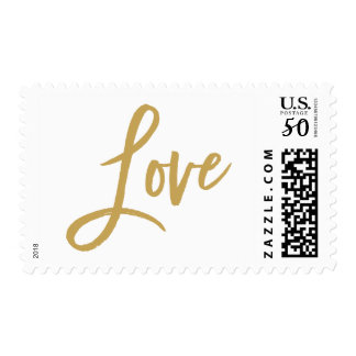 Chic Hand Lettered Gold Wedding Love Postage Stamp