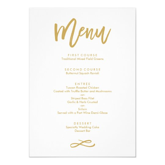 Chic Hand Lettered Gold Wedding Menu Card  ZazzleCom