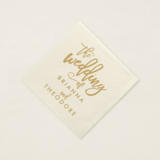 Chic Hand Lettered Gold Wedding Napkins at Zazzle