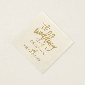 Chic Hand Lettered Gold Wedding Napkins