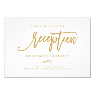 Chic Hand Lettered Gold Wedding Reception Card Pictures