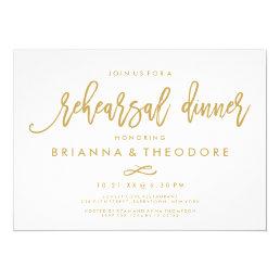 Chic Hand Lettered Gold Wedding Rehearsal Dinner Card