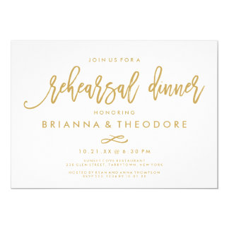 Chic Hand Lettered Gold Wedding Rehearsal Dinner Invitation
