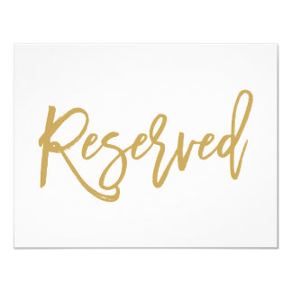 Chic Hand Lettered Gold Wedding Reserved Sign Card