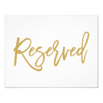 Chic Hand Lettered Gold Wedding Reserved Sign Invitation