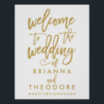 "Chic Hand Lettered Gold Wedding Welcome Sign<br><div class=""desc"">Personalized welcome wedding sign with names and hashtag in gold and white.</div>"
