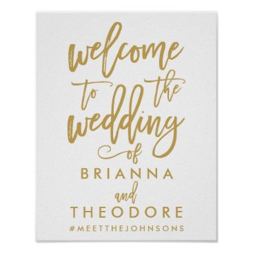 NBpaperco Chic Hand Lettered Gold Wedding Welcome Sign Poster
