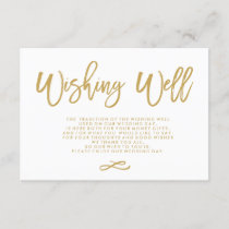 Chic Hand Lettered Gold Wedding Wishing Well Enclosure Card