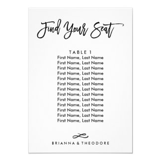 Chic Hand Lettered Individual Seating Chart Card
