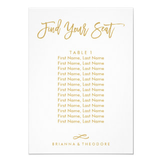 Chic Hand Lettered Individual Seating Chart Gold Card