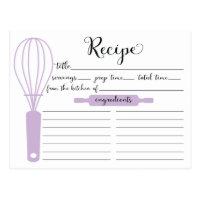 Chic Hand Lettered Lavender Whisk Recipe Card