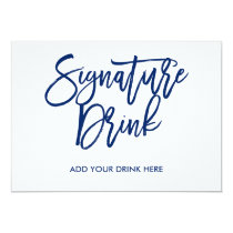 Chic Hand Lettered Navy Signature Drink Invitation