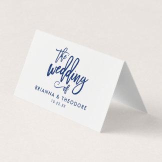 Chic Hand Lettered Navy Wedding Folded Escort Card