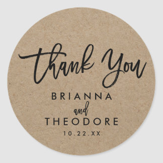 Chic Hand Lettered Rustic Thank You Favor Label