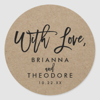 """Chic Hand Lettered Rustic """"With Love"""" Favor Label Classic Round Sticker"""