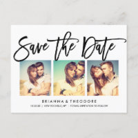 Chic Hand Lettered Save The Date Photo Collage Announcement Postcard