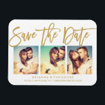"""Chic Hand Lettered Save The Date Photo Collage Magnet<br><div class=""""desc"""">This elegant and modern 3-photo save the date magnet features a beautiful brush-script lettering in gold. Visit the shop to see the rest of the collection from the Chic Typography Gold suite.</div>"""