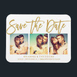 "Chic Hand Lettered Save The Date Photo Collage Magnet<br><div class=""desc"">This elegant and modern 3-photo save the date magnet features a beautiful brush-script lettering in gold. Visit the shop to see the rest of the collection from the Chic Typography Gold suite.</div>"