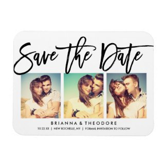Chic Hand Lettered Save The Date Photo Collage Magnet