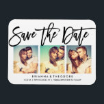"""Chic Hand Lettered Save The Date Photo Collage Magnet<br><div class=""""desc""""></div>"""