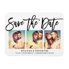 Chic Hand Lettered Save The Date Photo Collage Magnet at Zazzle