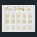 "Chic Hand Lettered Seating Chart Gold<br><div class=""desc"">Seating Chart in gold</div>"