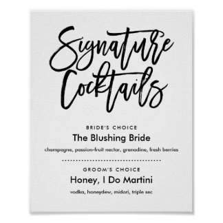 Chic Hand Lettered  Signature Cocktails Menu Poster