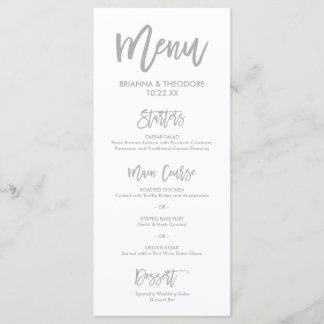 Chic Hand Lettered Silver Wedding Menu
