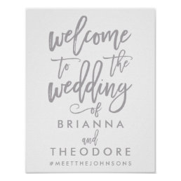 Chic Hand Lettered Silver Wedding Welcome Sign