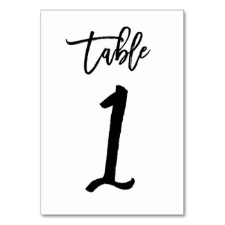Chic Hand Lettered Table Number Card | Table 1