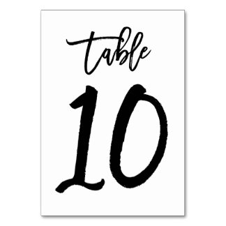 Chic Hand Lettered Table Number Card | Table 10