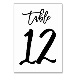 Chic Hand Lettered Table Number Card | Table 12
