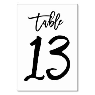 Chic Hand Lettered Table Number Card | Table 13