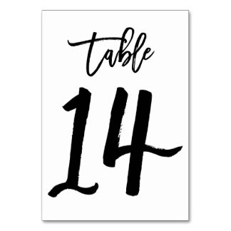 Chic Hand Lettered Table Number Card | Table 14
