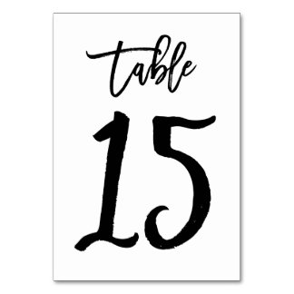 Chic Hand Lettered Table Number Card   Table 15