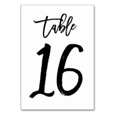 Chic Hand Lettered Table Number Card | Table 16