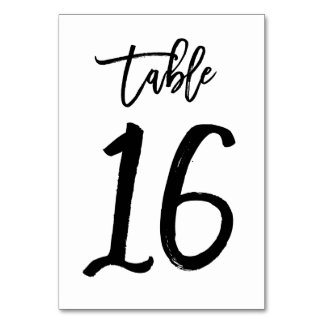 Chic Hand Lettered Table Number Card   Table 16