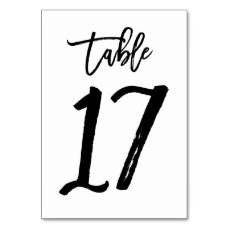 Chic Hand Lettered Table Number Card | Table 17