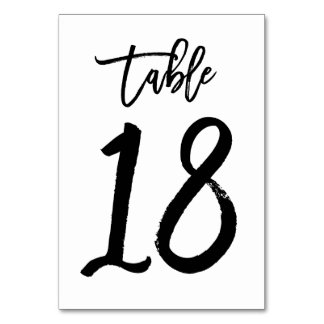 Chic Hand Lettered Table Number Card | Table 18