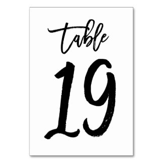 Chic Hand Lettered Table Number Card | Table 19