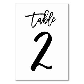 Chic Hand Lettered Table Number Card | Table 2