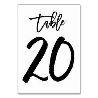 Chic Hand Lettered Table Number Card | Table 20