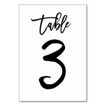 Chic Hand Lettered Table Number Card | Table 3