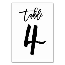 Chic Hand Lettered Table Number Card | Table 4